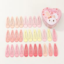 30pcs Toddler Kids Colorful Hair Snap Clip With Case