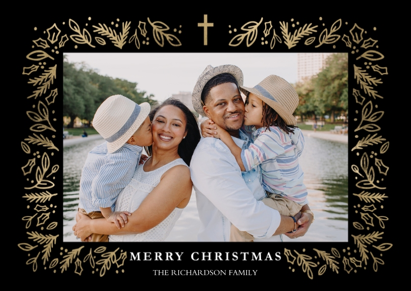 Christmas Photo Cards 5x7 Cards, Standard Cardstock 85lb, Card & Stationery -Christmas Cross Gold by Tumbalina