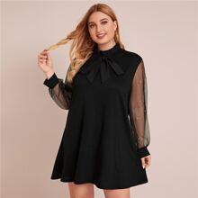Plus Tie Front Frill Trim Mesh Panel Tunic Dress