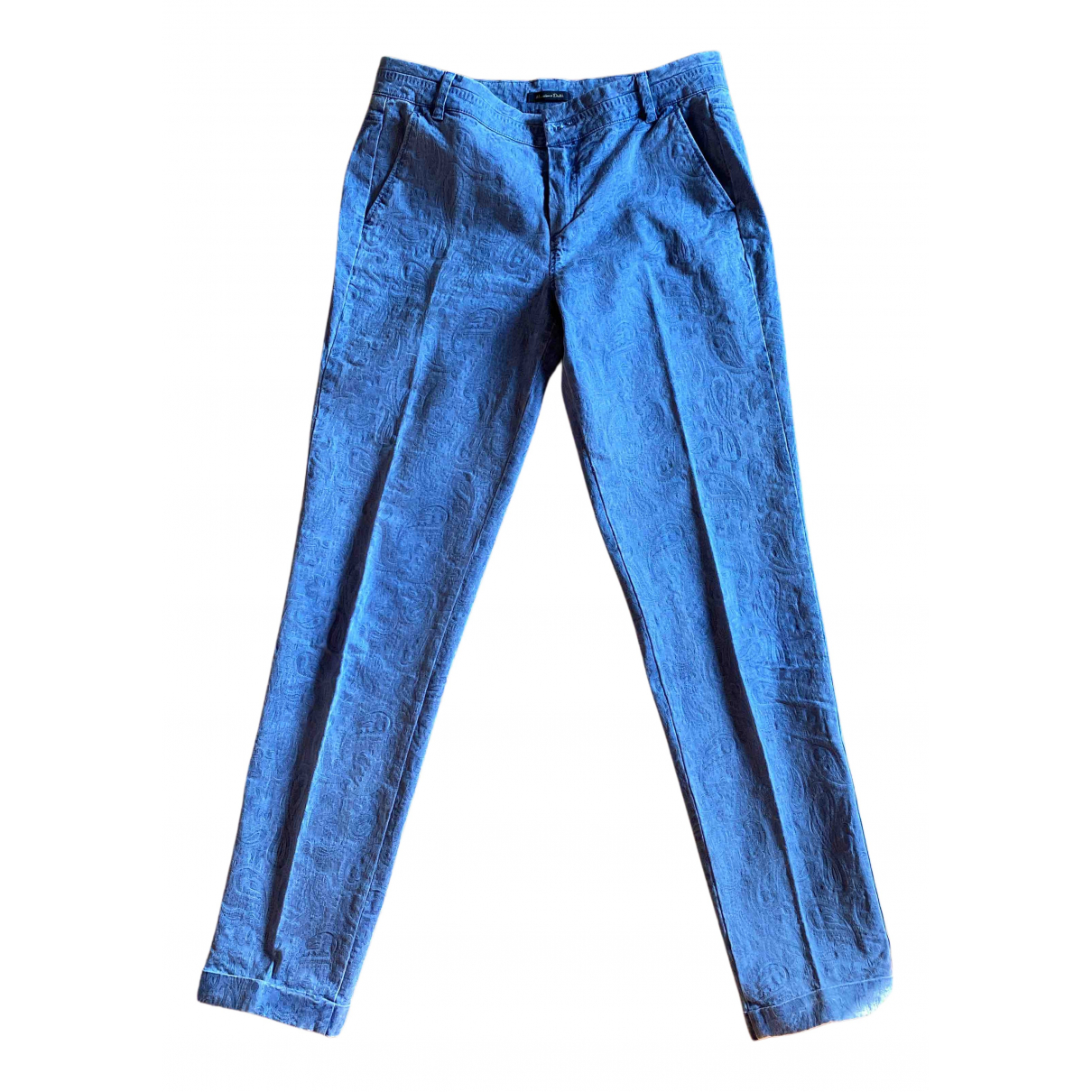 Massimo Dutti N Blue Cotton Trousers for Women 38 FR