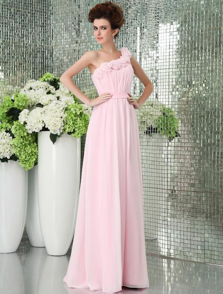 Milanoo Vestido de damas de honor de chifon con escote a un solo hombro