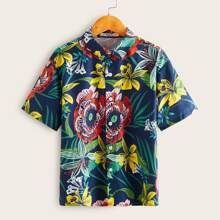 Boys Button Front Tropical Print Shirt
