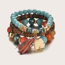 3pcs Elephant & Tassel Charm Beaded Bracelet