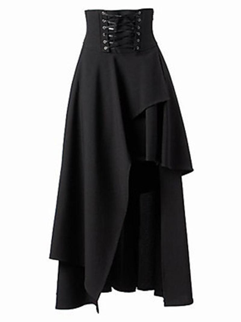 Ericdress Halloween Costume Ankle-Length Asymmetrical High-Waist Lace-Up Women's Skirt