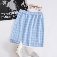 Falda con estampado de cuadros