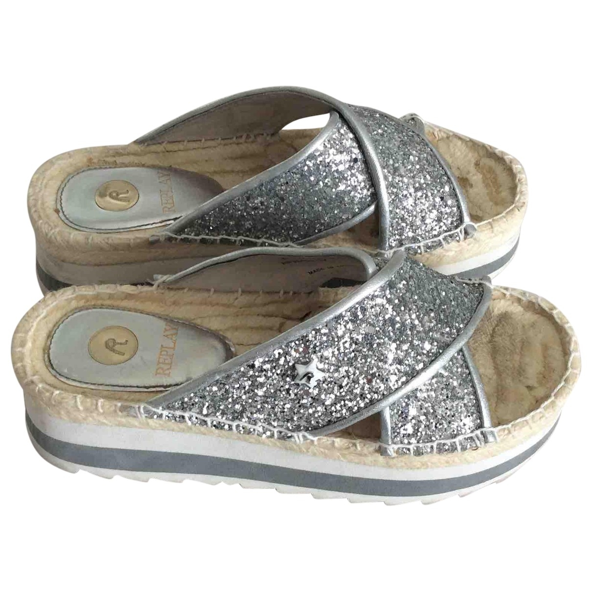 Replay \N Silver Glitter Sandals for Women 35 EU