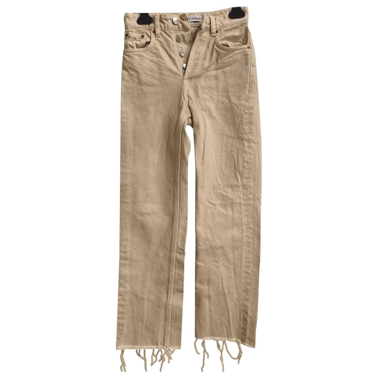 Zara \N Beige Cotton Jeans for Women 32 FR