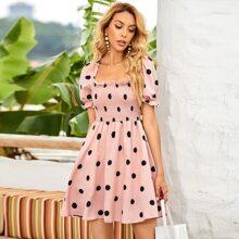 Polka Dot Ruffle Trim Shirred A-line Dress