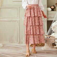 Ditsy Floral Layered Ruffle Hem Skirt