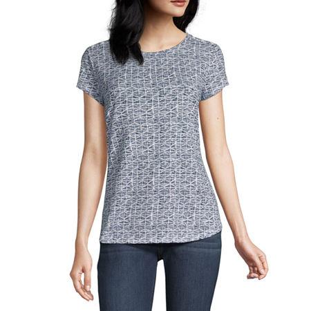 Liz Claiborne-Womens Crew Neck Short Sleeve T-Shirt, X-large , Blue