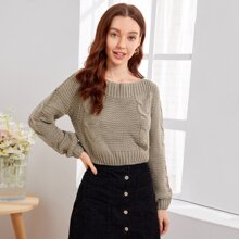 Boat Neck Cable Knit Crop Sweater
