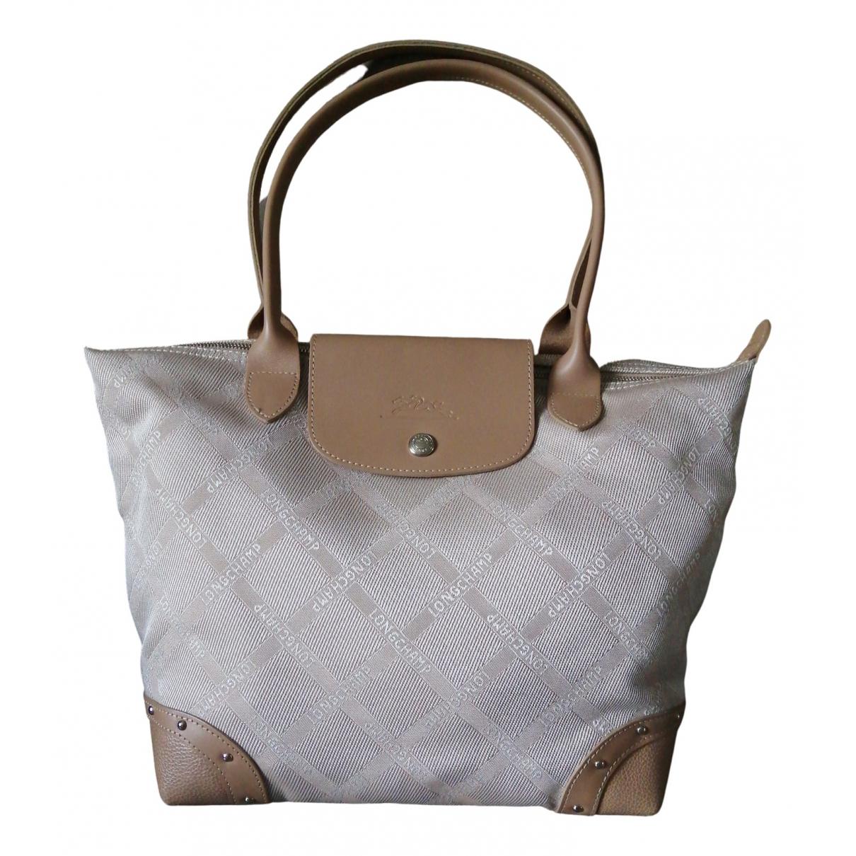 Longchamp - Sac a main   pour femme en toile - ecru