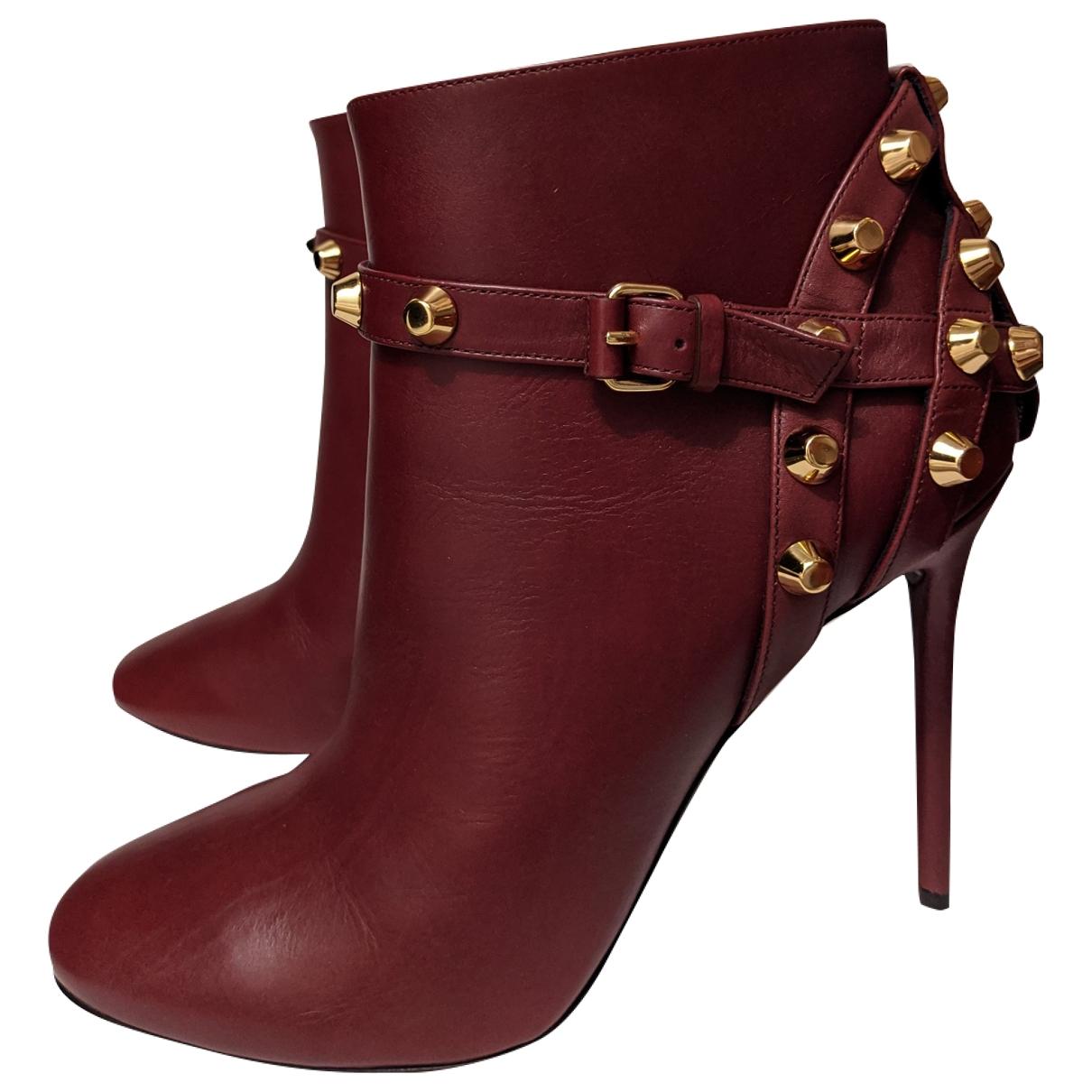 Balenciaga - Boots   pour femme en cuir - bordeaux
