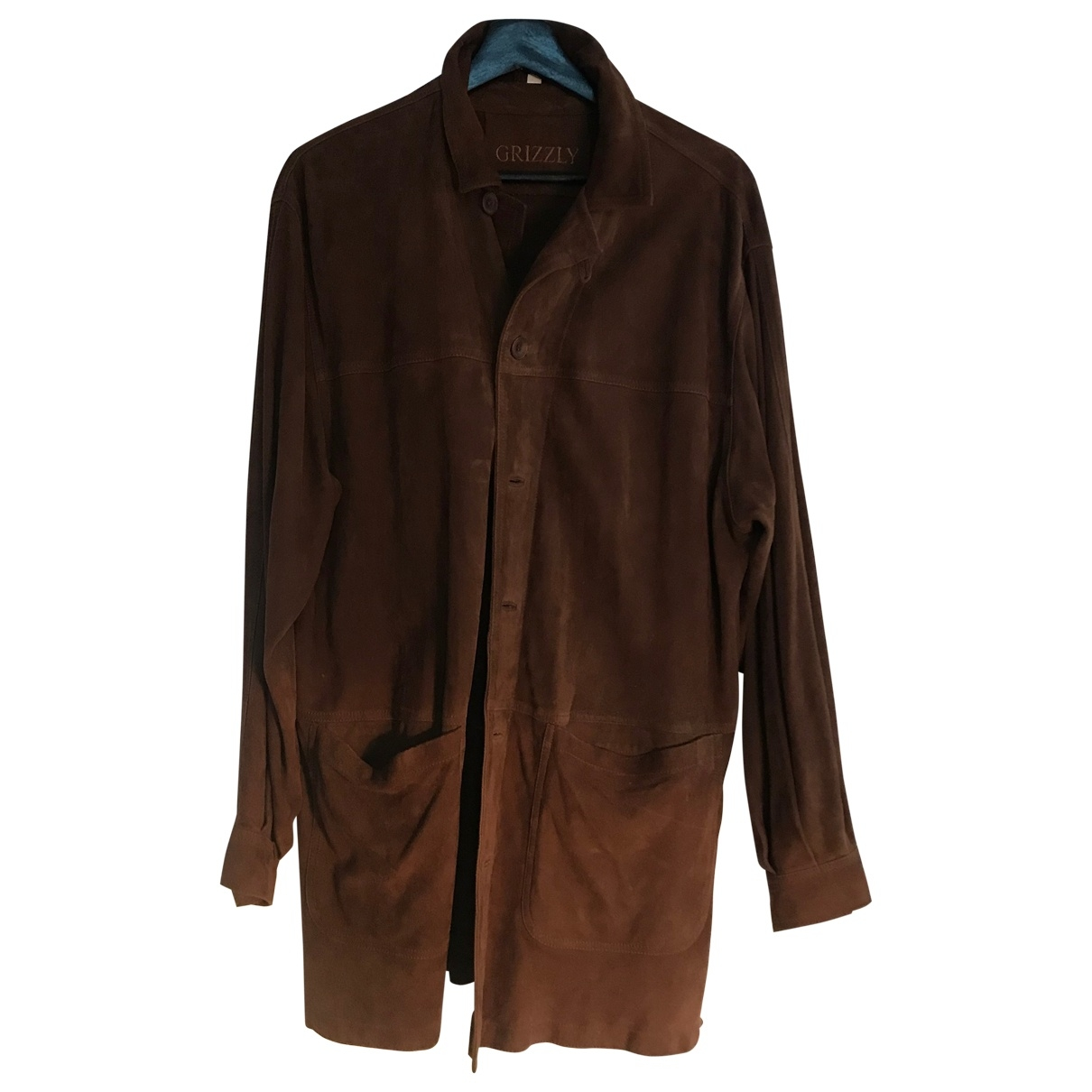Non Signé / Unsigned \N Brown Leather coat  for Men 50 IT
