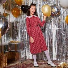 Shirt Kleid mit Kontrast Schiffy Peter Pan Kragen und Selbstguertel