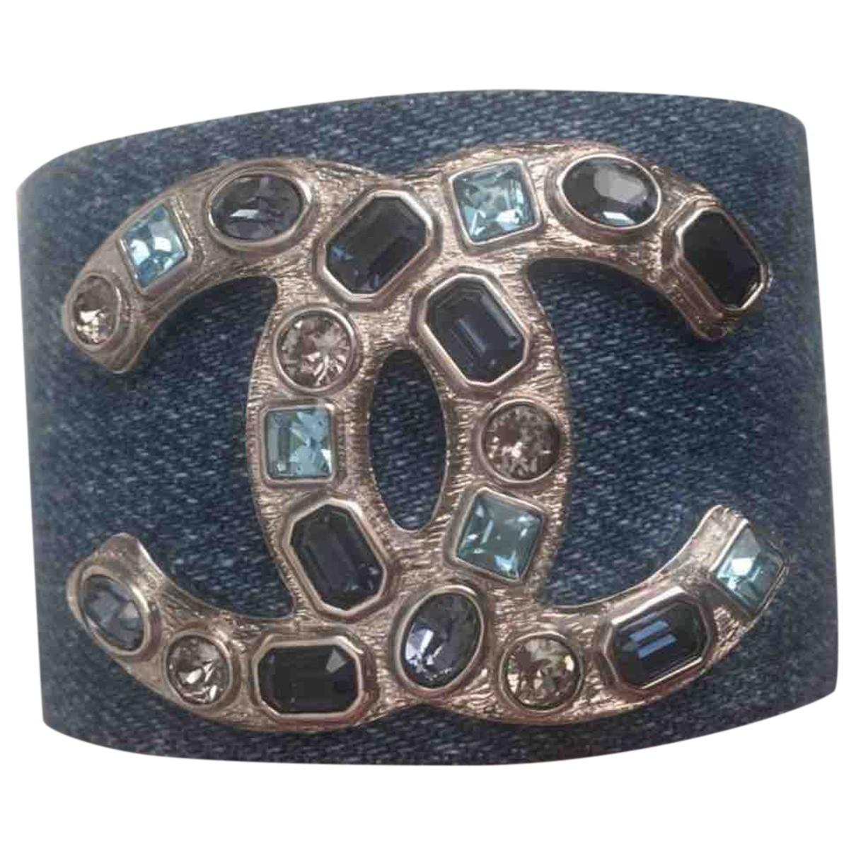Chanel CC Armband in  Blau Leinen