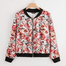 Plus All Over Floral Print O-ring Zip Up Bomber Jacket