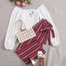 Off Shoulder Shirred Top and Paperbag Waist Striped Pants Set