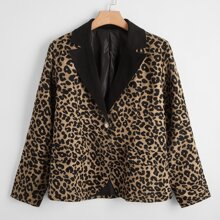 Plus Leopard Print Single Button Blazer