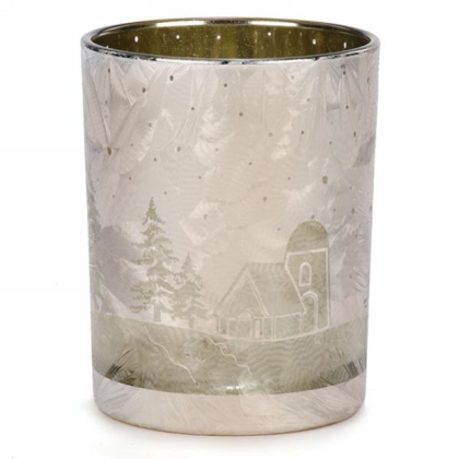 Glass Candle Holder in Gold & Silver 4X5