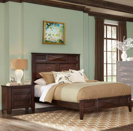Spencer Collection SP6140KN 2-Piece Bedroom Set with King Bed and Nightstand in Vernish