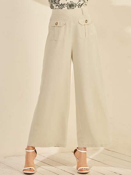 YOINS Apricot Pocket Design Wide Leg Pants