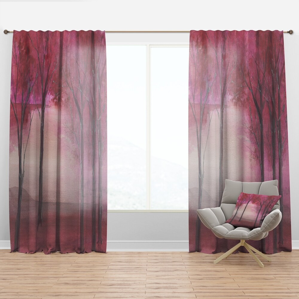 Designart Pink Forest Traditional Curtain Panel (50 in. wide x 108 in. high - 1 Panel)