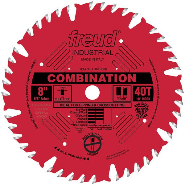 LU84R008 Industrial Combination Blade with Red Perma-Shield, 8