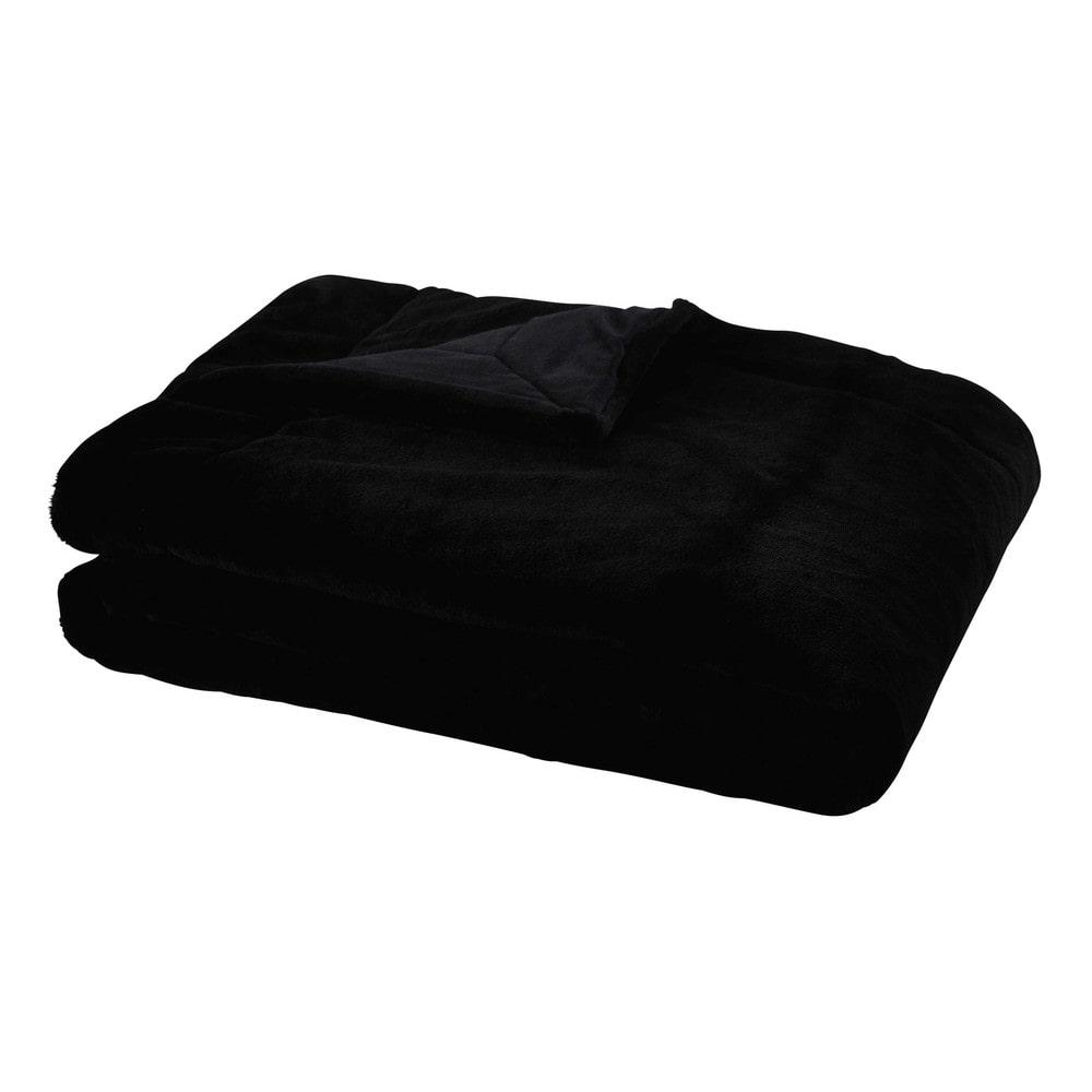 Decke aus Kunstfell, schwarz, 150x180