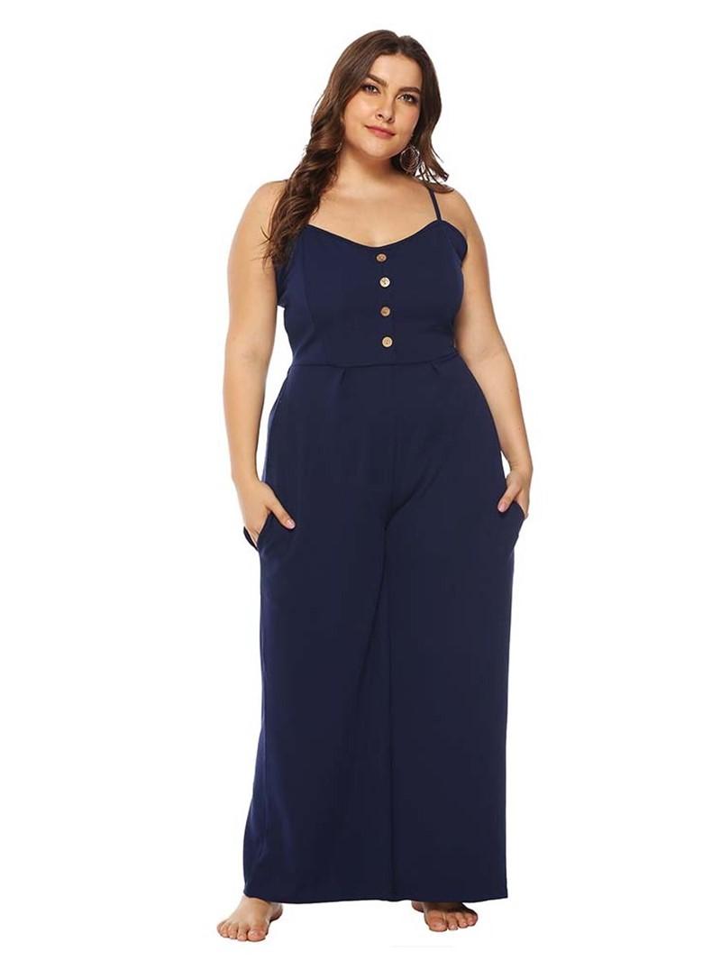 Ericdress Plus Size Plain Button Office Lady Slim High Waist Jumpsuit