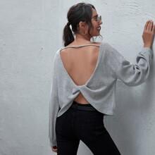 Drop Shoulder Twist Backless Top