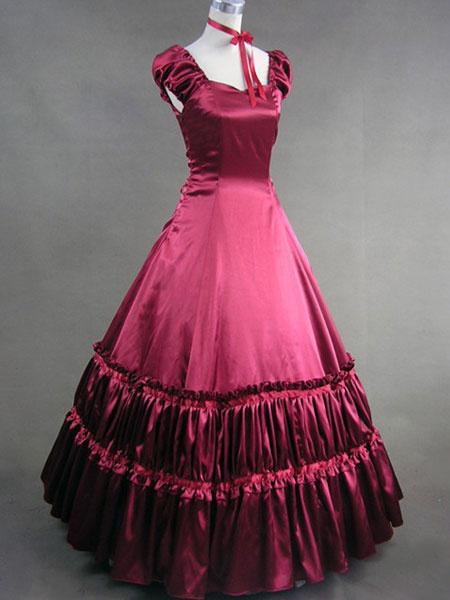 Milanoo Disfraz Halloween Vestido vintage de saten con escote de corazon y capas Halloween