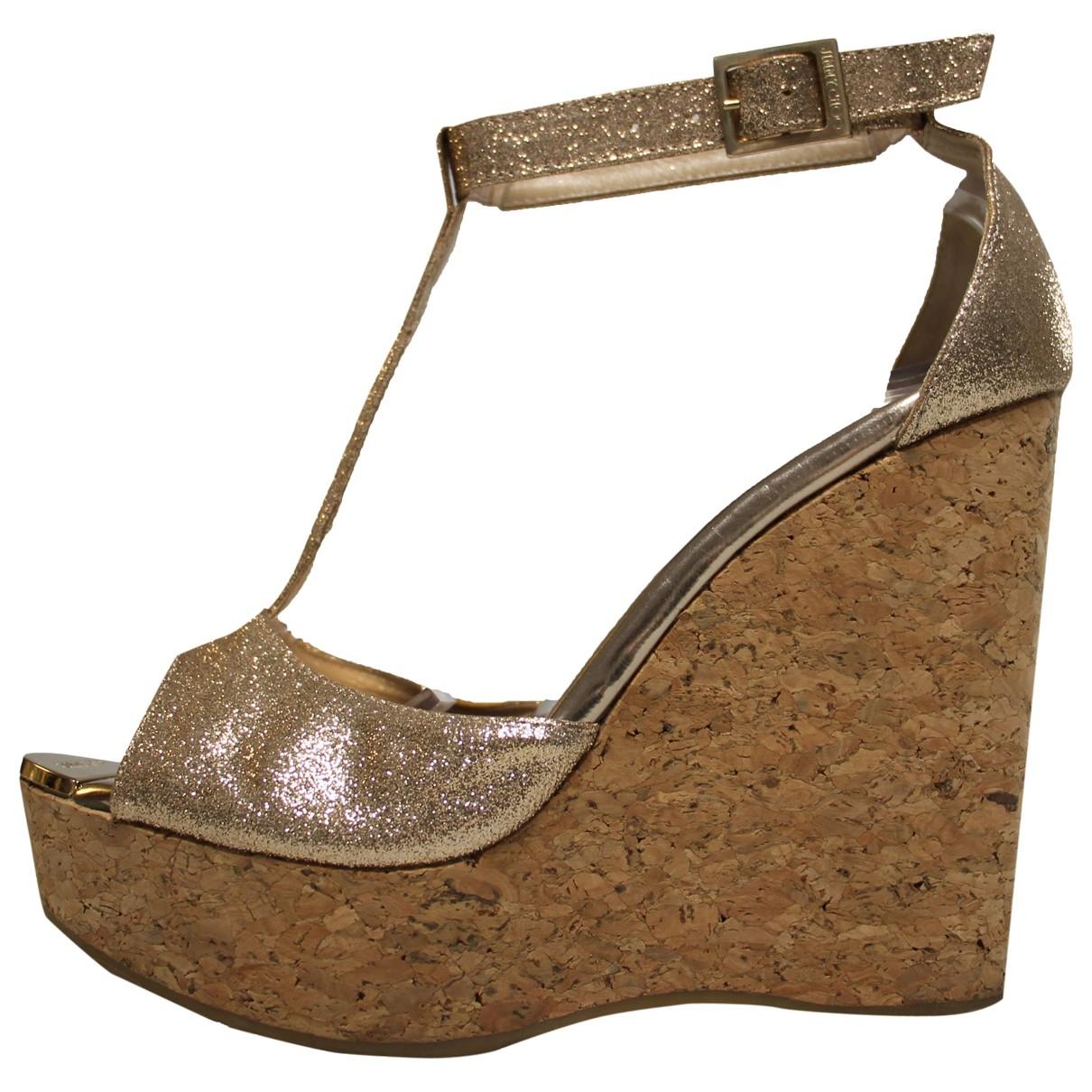 Jimmy Choo \N Gold Leather Sandals for Women 38 EU