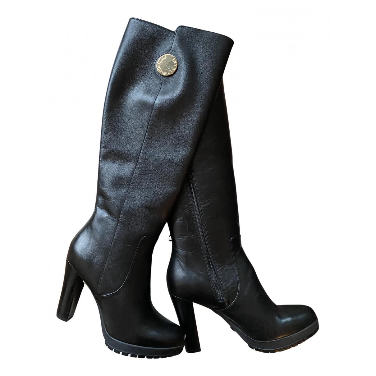 Emporio Armani \N Stiefel in  Schwarz Leder