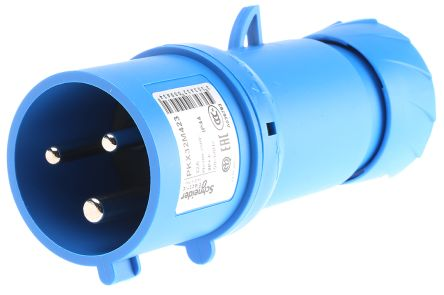 Merlin Gerin , PratiKa IP44 Blue Cable Mount 2P+E Industrial Power Plug, Rated At 32.0A, 230.0 V