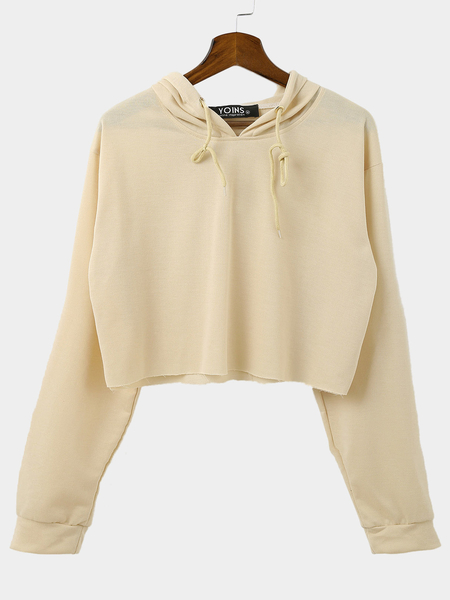 Yoins Khaki Casual Cropped Hoodie With Long Sleeves