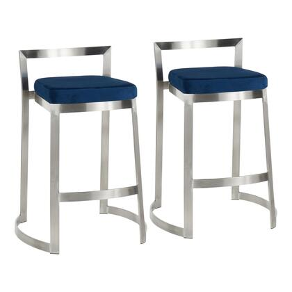 B28-FUJDLX VBU2 Fuji DLX Contemporary Counter Stool in Stainless Steel and Blue Velvet Cushion- Set of