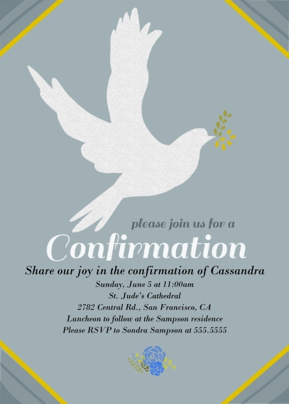 Confirmation 5x7 Cards, Standard Cardstock 85lb, Card & Stationery -Dove Confirmation
