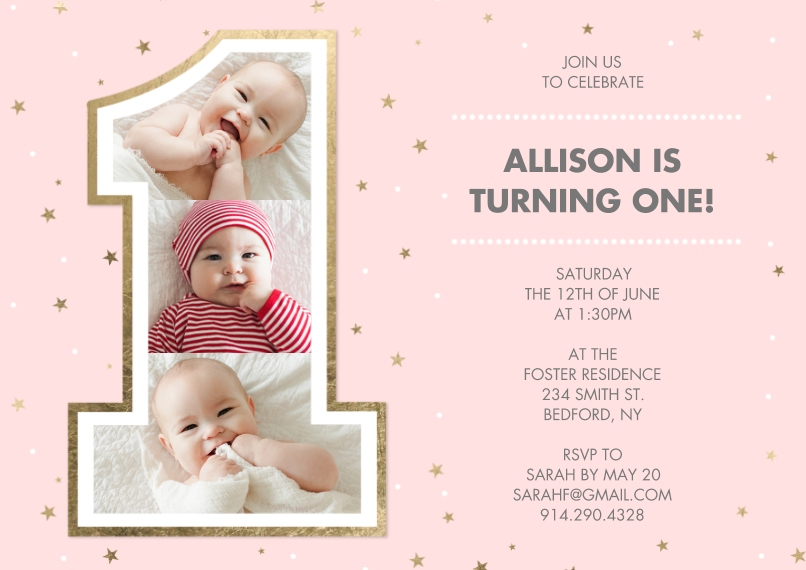 1st Birthday Invitations Flat Glossy Photo Paper Cards with Envelopes, 5x7, Card & Stationery -Birthday One Gold Pink