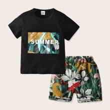 Kleinkind Jungen T-Shirt mit tropischem & Buchstaben Muster und Shorts