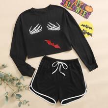 Sweatshirt mit Hand & Fledermaus Muster Schlafanzug Set