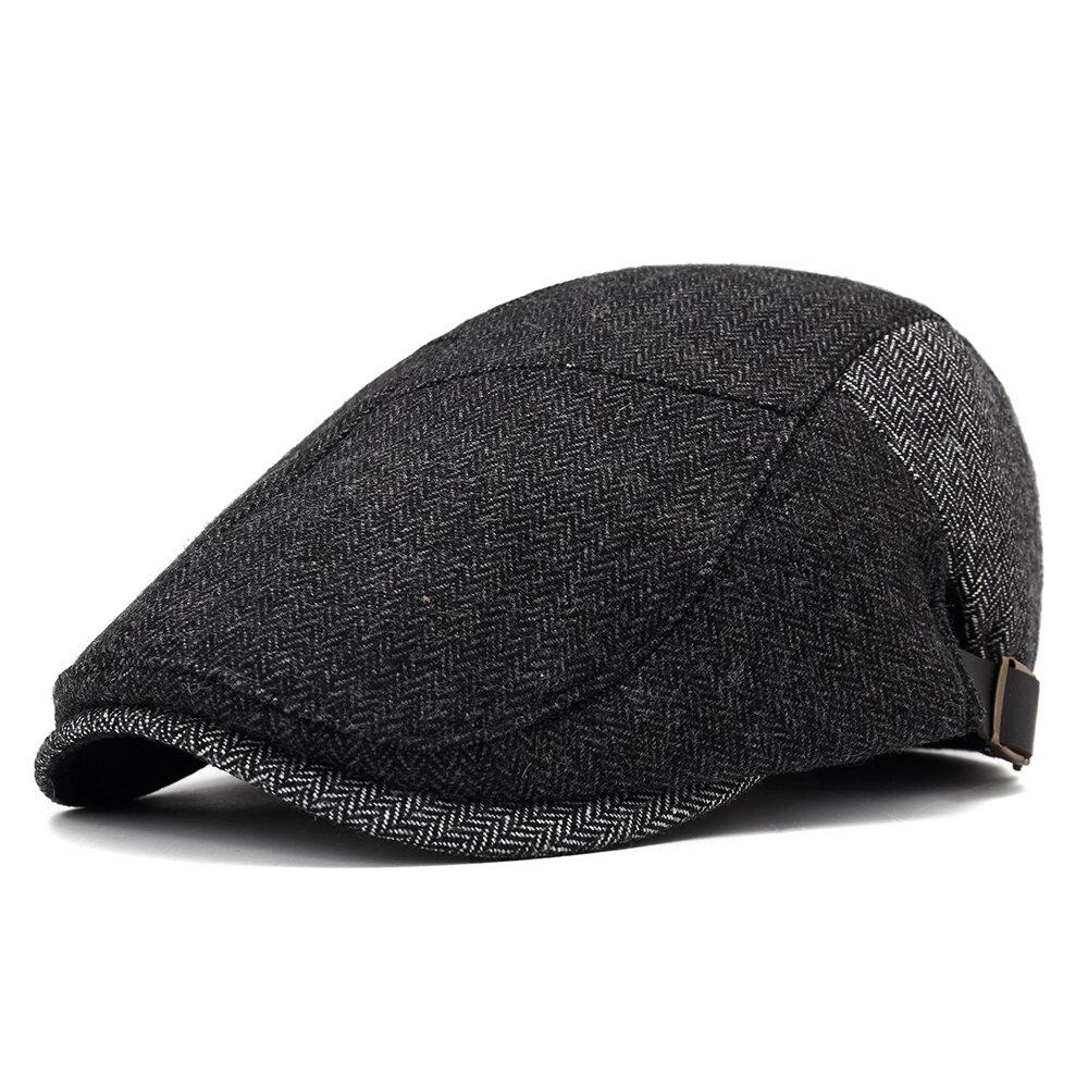 Men Winter Cotton Adjustable Hat Warm Vintage Outdoor Snow Beret Cap