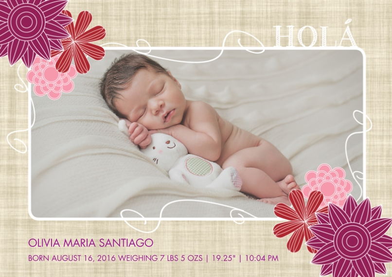 Newborn 5x7 Cards, Premium Cardstock 120lb with Scalloped Corners, Card & Stationery -Spanish Hola Baby Flowers