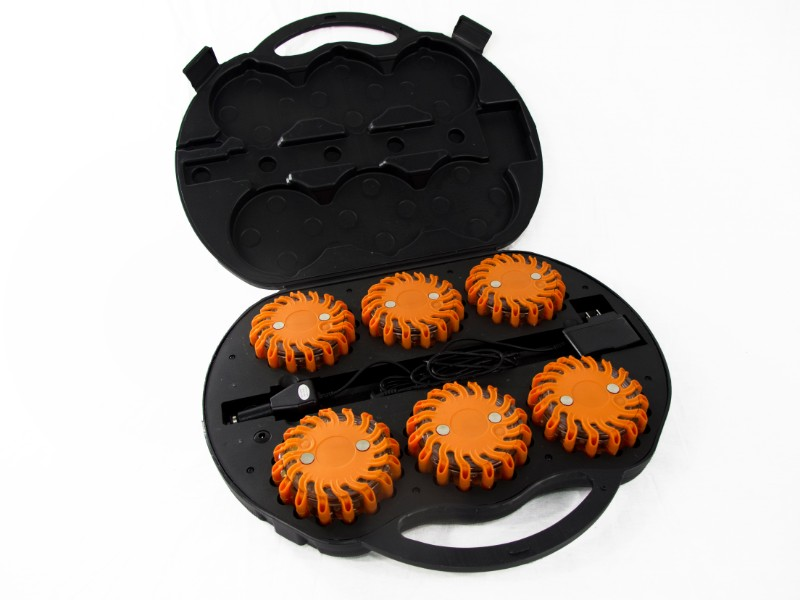 Race Sport Lighting RS-6KIT-FLARE-A Amber 6 LED Flare Emergency Safety Kit with Charge Case
