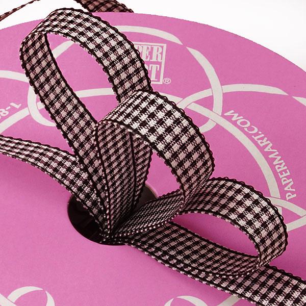 3/8 X 25 Yards Polyester Black Wanda Gingham Ribbon by Ribbons.com
