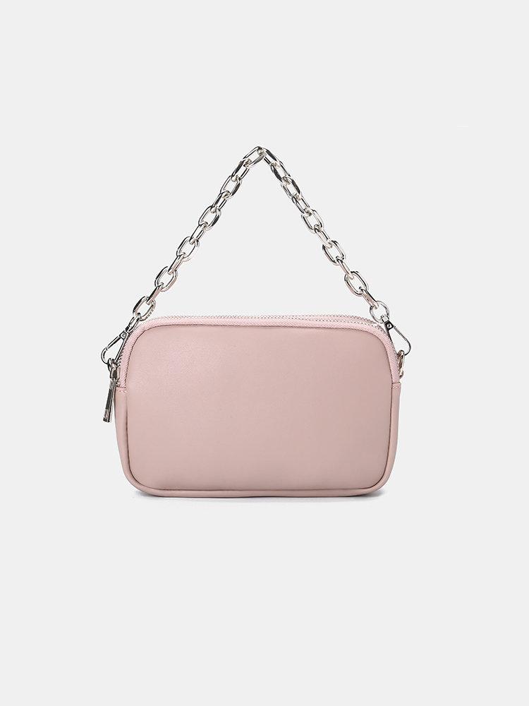 Women PU Leather Solid Chain Crossbody Bag