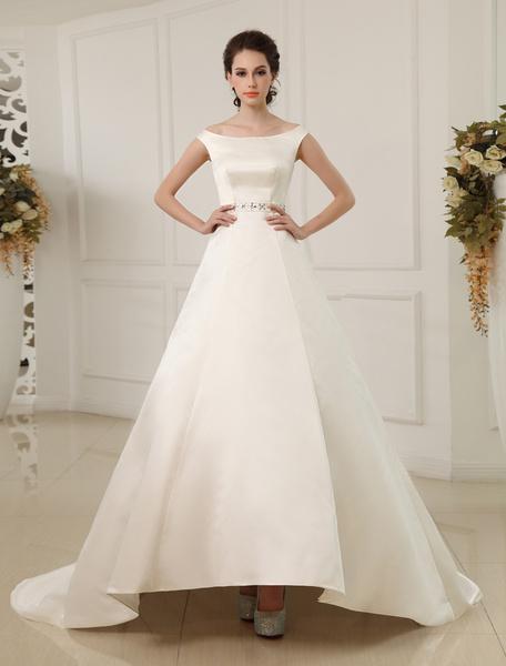 Milanoo Vestido de novia de saten de color marfil con escote en V de estilo moderno