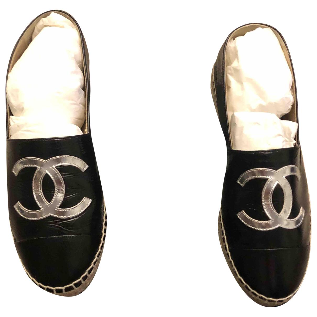 Chanel \N Black Patent leather Espadrilles for Women 38 EU