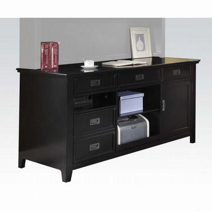 Pandora Collection 92262 Office Cabinet Base  3 Open Compartment  Wooden Top & Case-Frame  Wood Tapered Leg  in Black