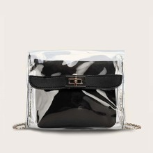 Girls Clear PVC Crossbody Bag With Inner Clutch